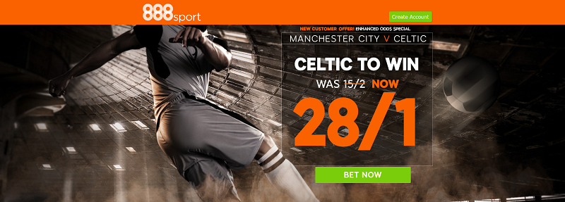 888sport Celtic to beat Man City Enhanced Odds Offer