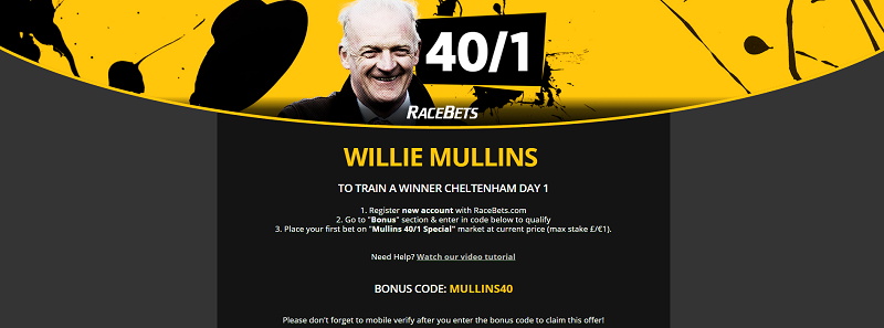 40/1 Willie Mullins Cheltenham Festival Offer RaceBets