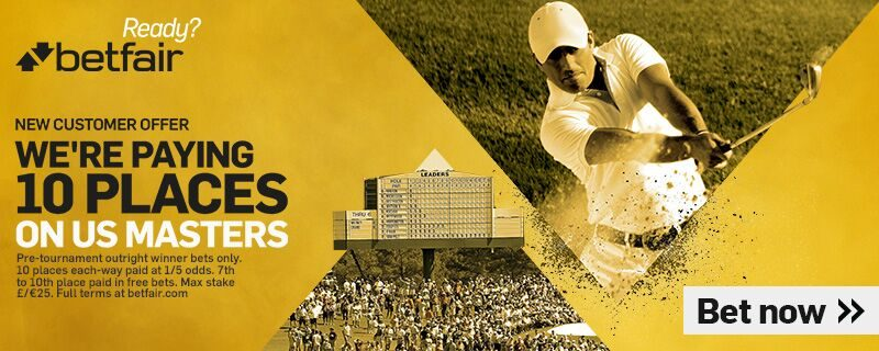 Betfair 10 Places on US Masters Offer