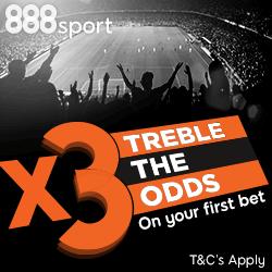 888sport Treble Odds New Customer Offer