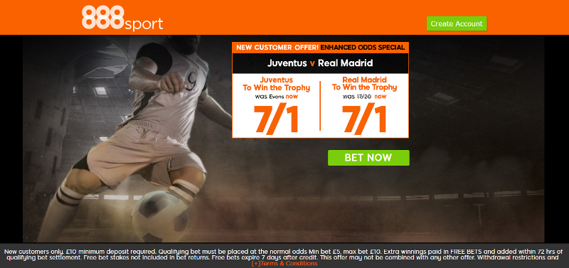 888sport 7/1 juve 7/1 Real Madrid Champions League Offer