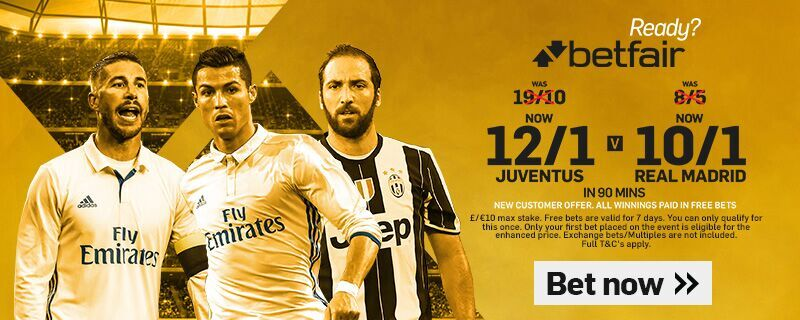 Betfair Juventus v Real Madrid Champions League Offer