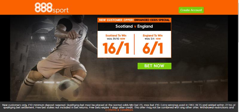Scotland v England enhanced odds offers