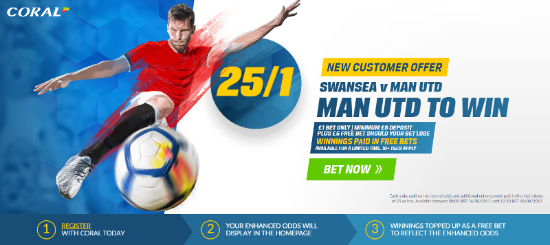 Manchester United Enhanced Odds Offer 25/1 to beat Swansea, Premier League