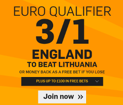 Betfair Offer 3 to 1 on England to Beat Lithuania 12 October 2015
