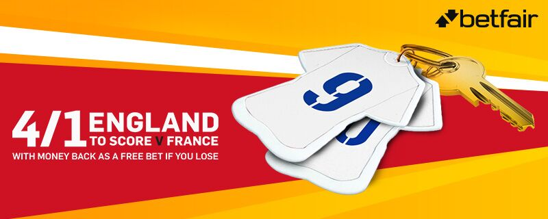 Betfair 4 to 1 England to score offer v France