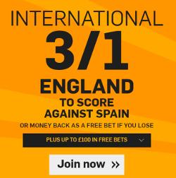 Betfair Spain v England 3 to 1 Enhanced Odds England to Score Offer 13 November 2015