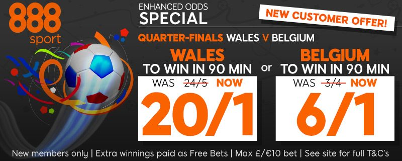 888sport Enhanced Odds Betting Offer Wales 20/1 Belgium 6/1