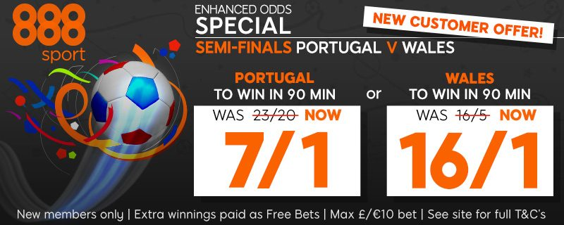 888sport 16/1 Wales to beat Portugal Offer Euro 2016