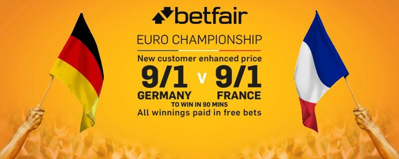 Betfair 9/1 Germany v France enhanced odds betting offer