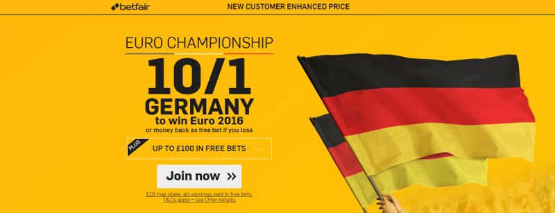 Betfair Germany 10/1 to win Euros Offer
