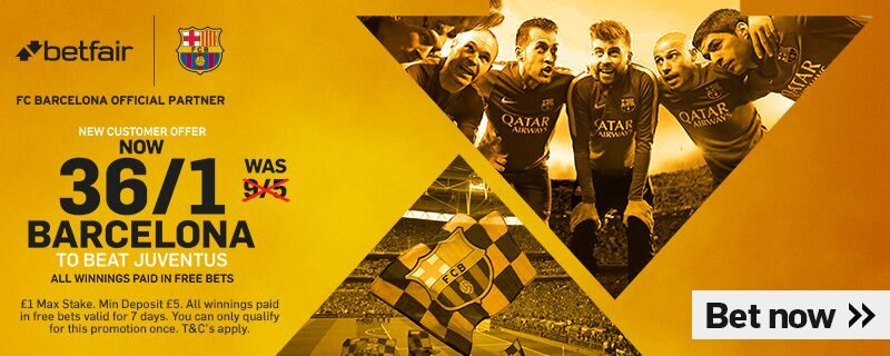 Barcelona 36/1 to Beat Juventus with Enhanced Odds Betfair Offer