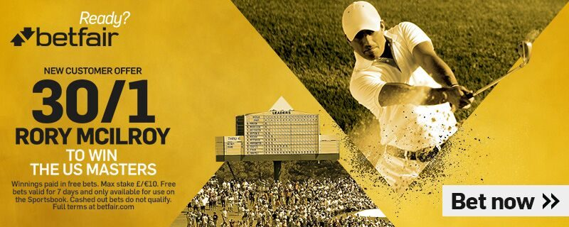 Betfair Rory McIlroy 30/1 US Masters Offer