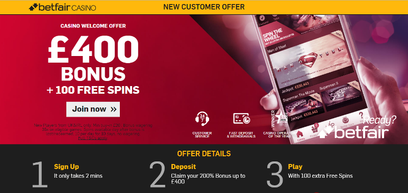 Betfair Casino £400 Bonus Plus Free Spins