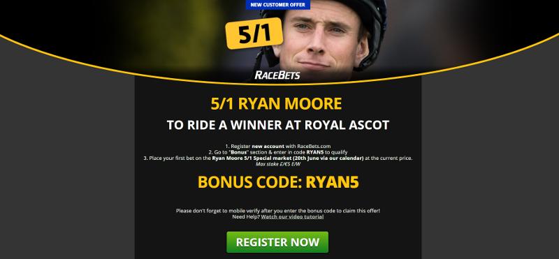 RaceBets 5/1 Royal Ascot Ryan Moore Offer