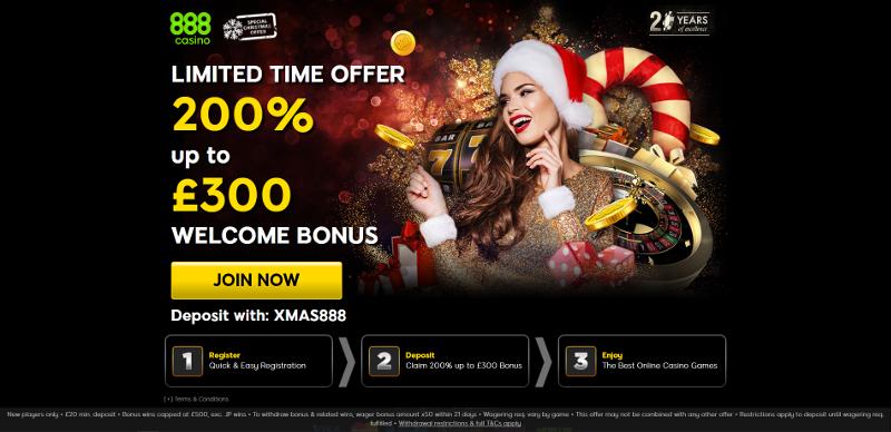 888casino £300 Bonus Christmas Offer