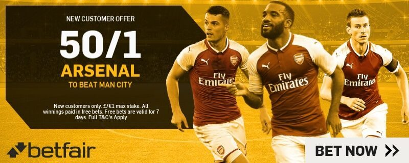 Betfair Arsenal to Beat Man City Enahnced Odds