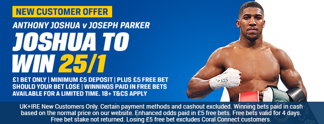 Coral 25/1 Anthony Joshua Enhanced Odds Offer to beat Parker