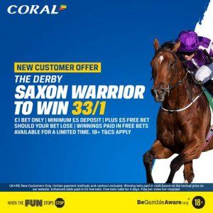 Saxon Warrior 33/1 Coral Derby Offer