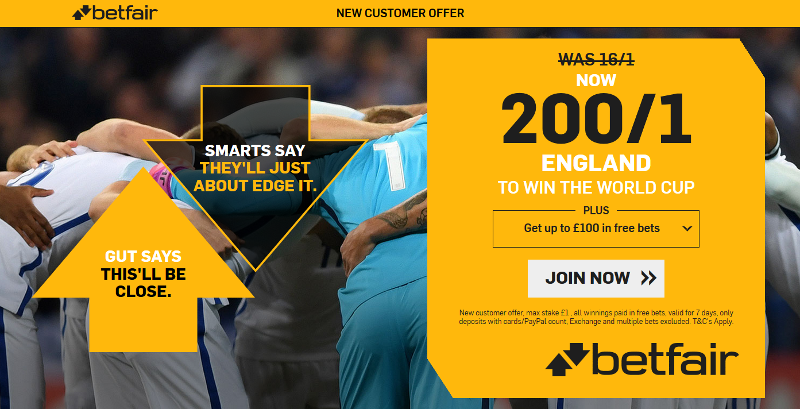 Betfair 200/1 England World Cup Offer