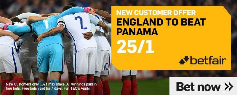 25/1 Betfair England to beat Panama Offer Sunday 24th June 2018