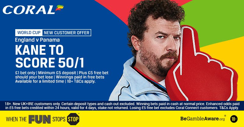Coral 50/1 Kane to Score England World Cup Offer 24 June 2018