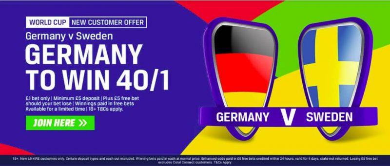 Coral Germany offer 40/1 to beat Sweden 23rd June 2018