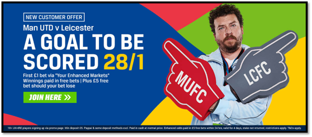 Coral 28/1 Goal to be Scored Offer Man United v Leicester August 2018