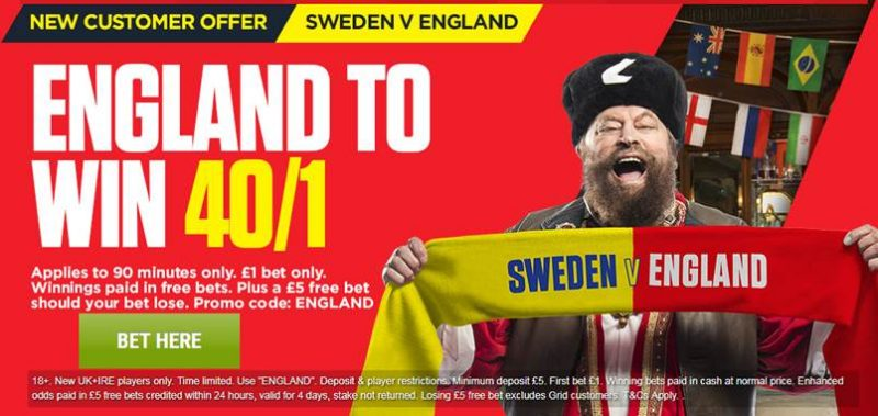 Ladbrokes 40/1 England Offer to Beat Sweden World Cup Quarter Final