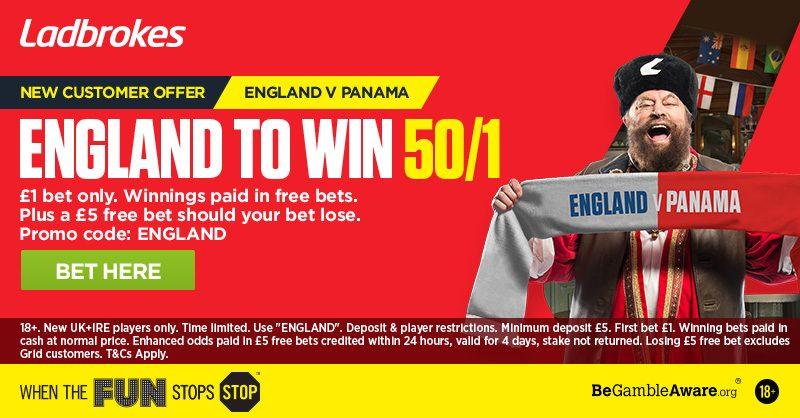 Ladbrokes England Offer: 50/1 to beat Panama 24 June 2018