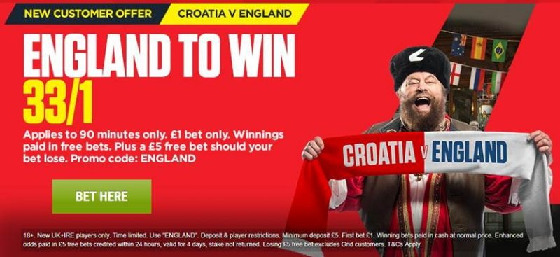 33/1 Ladbrokes England Offer v Croatia