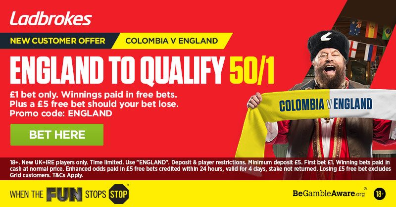 50/1 Ladbrokes England Offer to Qualify v Colombia