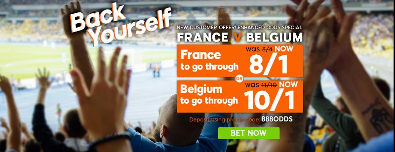 888sport France 8/1 Belgium 10/1 Offer