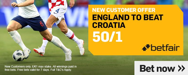 betfair 50 to 1 england offer to beat croatia world cup