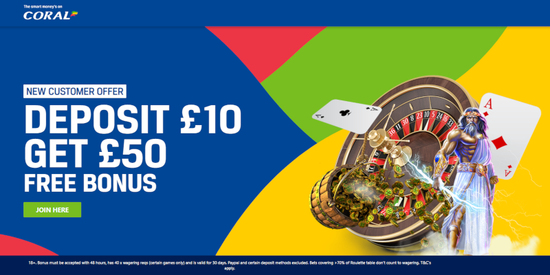 Coral Casino Deposit £10, Get £50 Bonus Offer