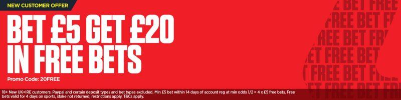 Ladbrokes Free Bet Offer: Bet £5 Get £20
