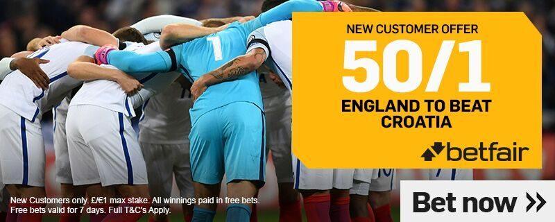 50/1 England Betfair Croatia Offer