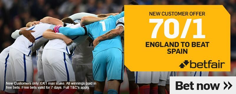 Betfair England Offer - England 70/1 to beat Spain