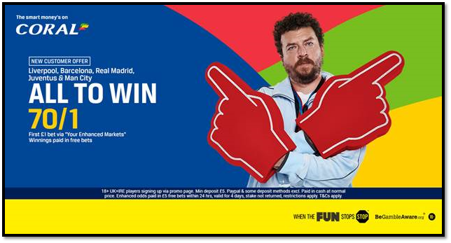 Coral 70/1 acca offer