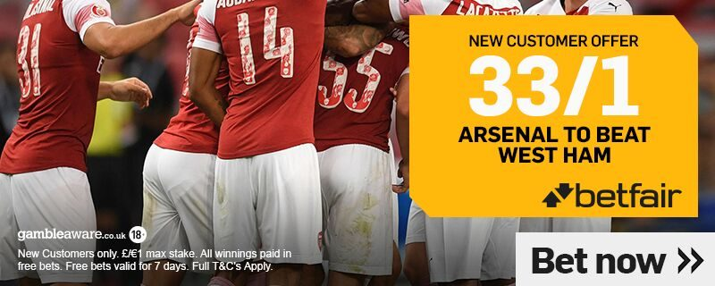 Betfair 33/1 offer on Arsenal to beat West Ham on 12th January 2019