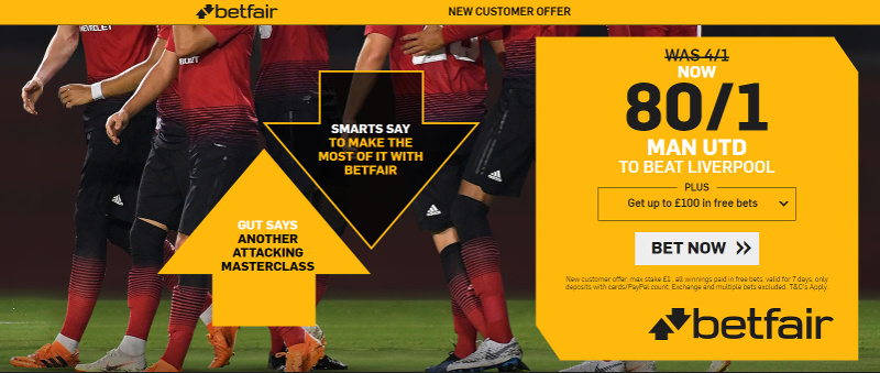 Betfair 80/1 Offer Man United to beat Liverpool
