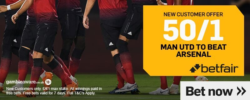 50/1 Man United Betfair Offer v Arsenal