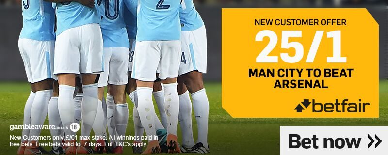 Betfair 25/1 Offer Man City to beat Arsenal on 3rd Feb 2019