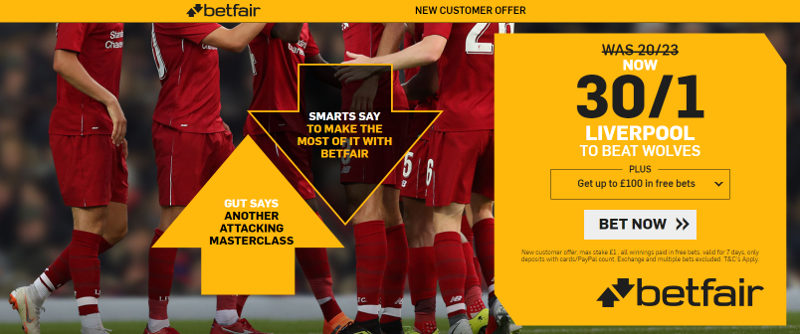 Betfair 30/1 Liverpool Offer to beat Wolves 7th January 2019