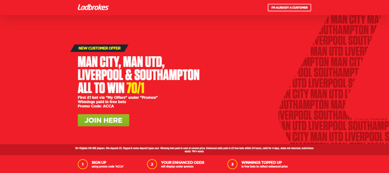 Ladbrokes 70/1 Acca Offer Premier League 12 May 2019
