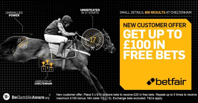 Betfair £100 free bet offer