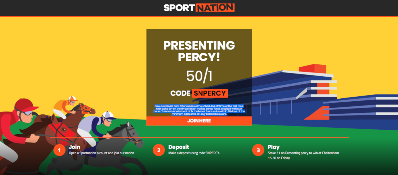 Presenting Percy Cheltenham Gold Cup Offer, 50/1 with SportNation