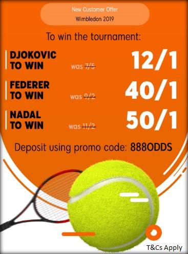 888sport Wimbledon 2019 Offer 50/1 Nadal
