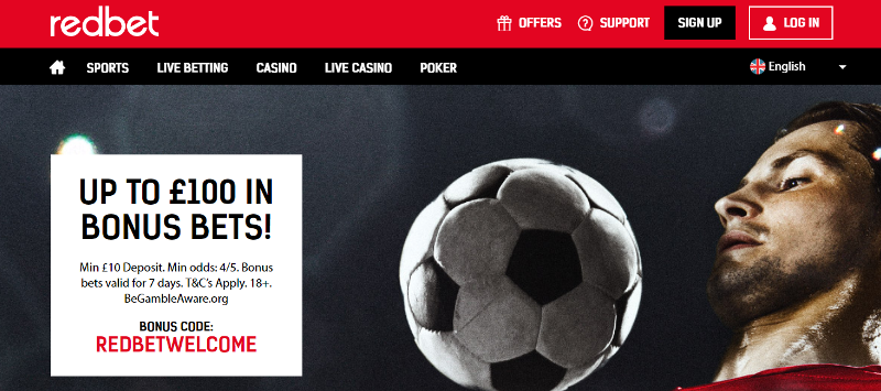Redbet £100 Bonus Bets Welcome Offer