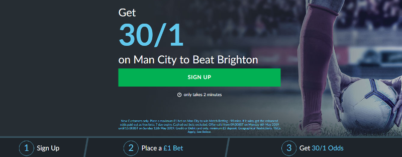 30/1 BetVictor Man City Offer - Free Bets, Betting Offers
